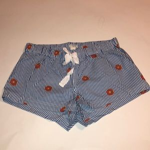 NWOT J. Crew Donuts and Stripes Pajama Shorts